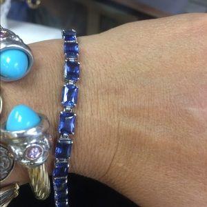 Jewelry - 14 kt gold lab created sapphire bracelet.